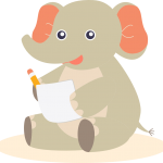 Elephant making notes