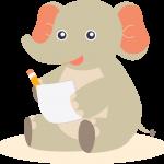 Elephant making notes
