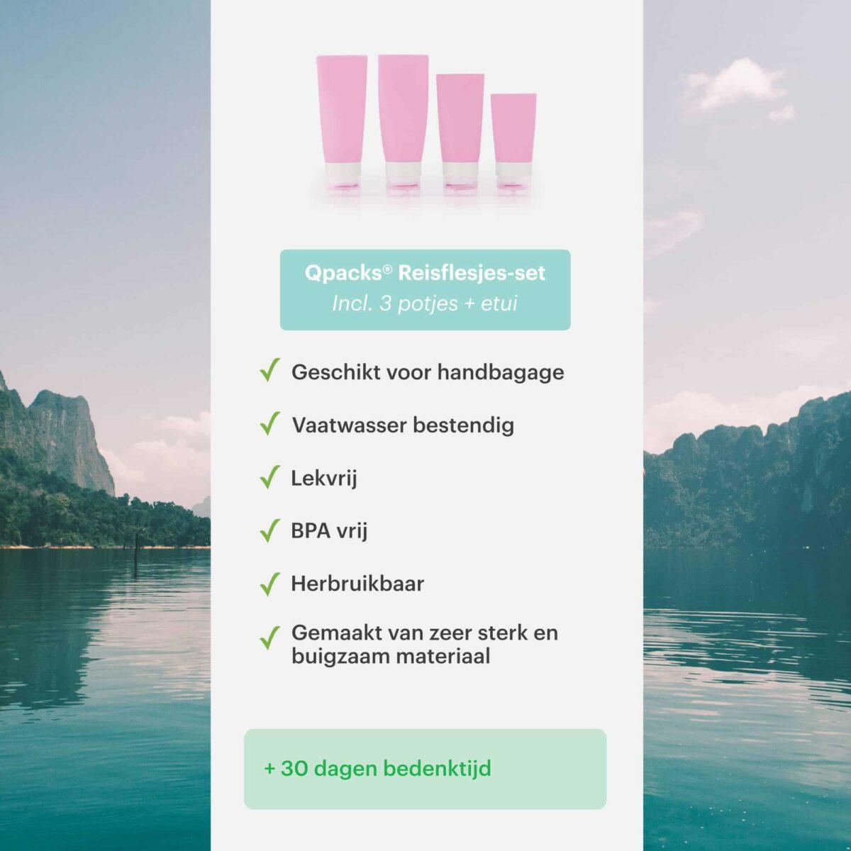 Voordelen qpacks reisflesjes roze